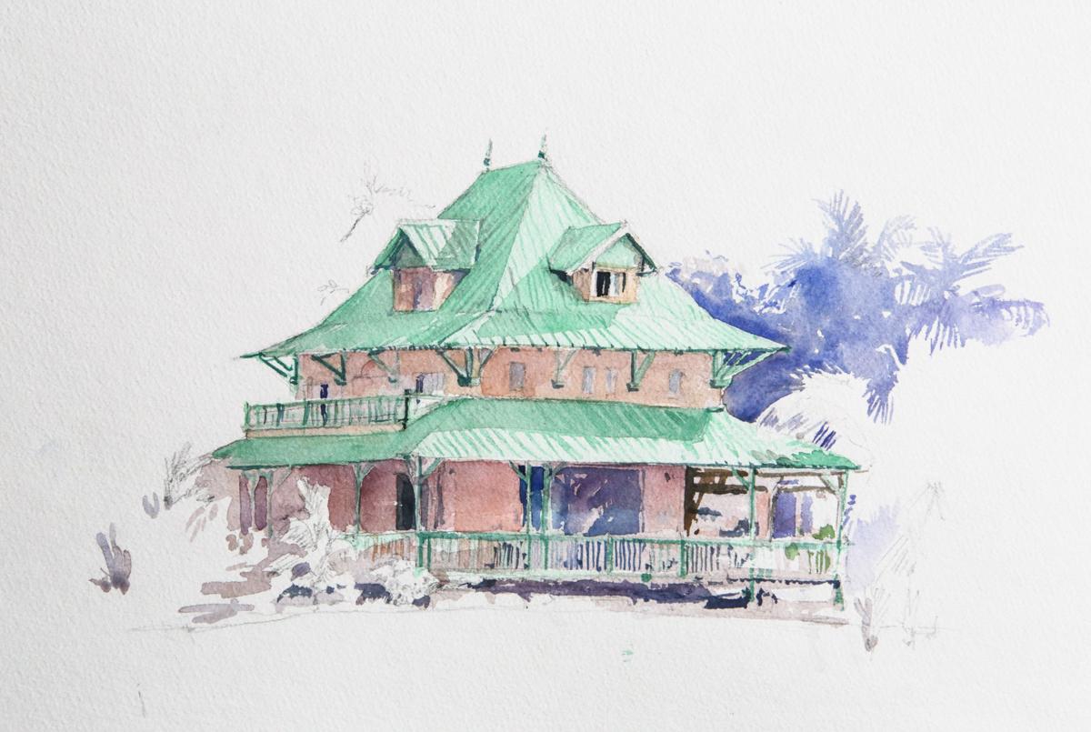 Dessin Maison Architecte : Une aquarelle d maison coloniale sur l ile maurice